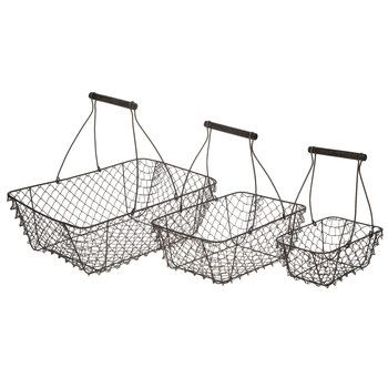 brown rectangle wire basket set