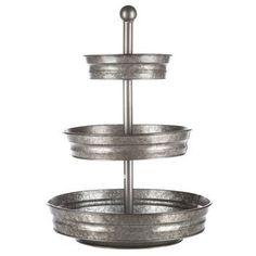 galvanized metal three tiered stand